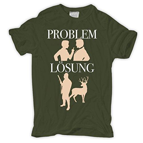 Männer und Herren T-Shirt Jäger Problem - Lösung Größe S - 8XL