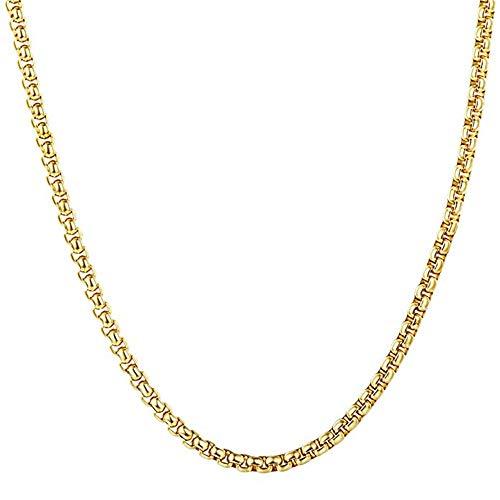 Q&S Jewels Cadena de eslabones Figaro de 4 mm para Hombre y Mujer, Cadena de eslabones Redondos de 3 mm, joyería de Moda, Collares de Acero Inoxidable Chapado en 18 Quilates, 18~26 Pulgadas