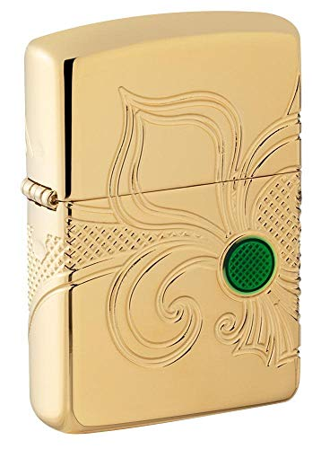 Zippo Unisex's Armor Fleur-de-lis Design Pocket Lighter, High Polish Gold Plate, One Size