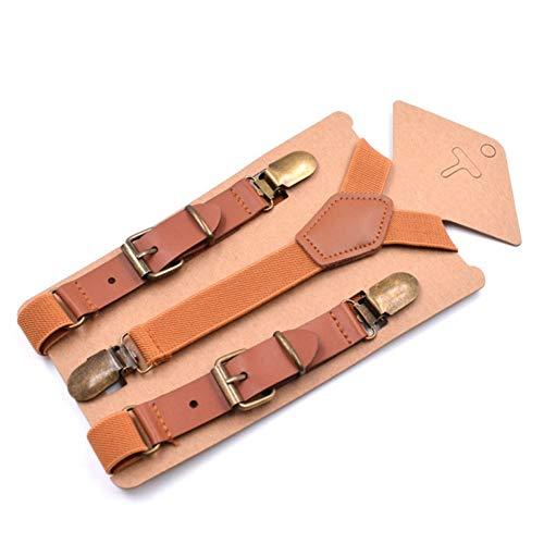 DYDONGWL Suspenders/Brace Kids Suspenders Vintage Bruin Suspenders voor Jongens 3 Clip Button Broek Braces 75cm