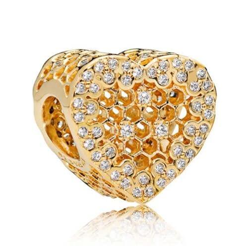 ZHANGCHEN 925 Sterling Silver Charm, ażurowy, błyszczący złoty kolor, koronka o strukturze plastra miodu z kryształowymi koralikami, pasuje do kobiet, bransoletka i szyja
