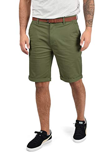 !Solid Montijo Chino Shorts Bermuda Kurze Hose Mit Gürtel Aus Stretch-Material Regular Fit, Größe:M, Farbe:Dusty Oliv (3784)