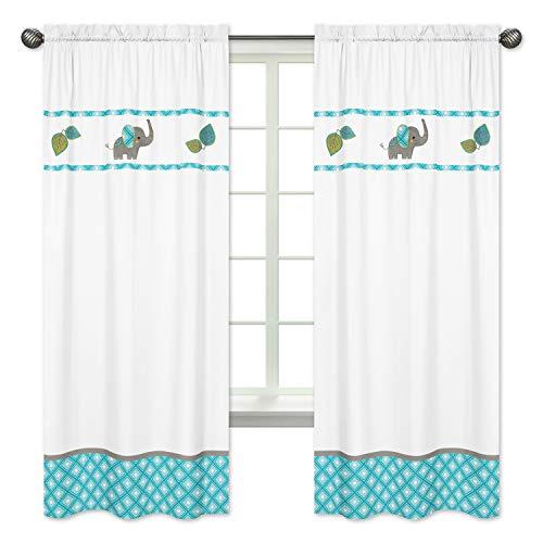 Mod Elephant Girl or Boy Bedroom Decor Window Treatment Panels - Set of 2