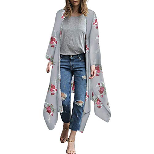 Yyh Dames Cardigan chiffon bloemenprint chiffon losse sjaal Kimono Cardigan Top Verdoek-overhemd-blouse Small 3