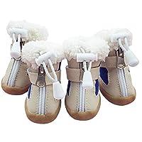 DHDHWL 犬のブーツ 犬の靴の冬の暖かいスキーブーツペット靴チワワテディ子猫の靴の滑り止めソール4本 犬用靴 (Color : Blue, Size : 3)