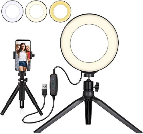 Anillo de luz LED Regulable de 6 Pulgadas con Trípode y Soporte para Teléfono Movil LED Selfie Light Ring para Maquillaje Fotografía, con 3 modos de luz y 11 Brillos para Tik Tok YouTube Video