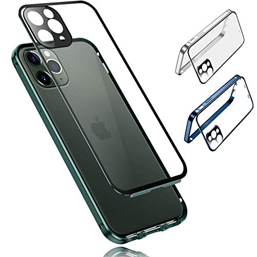 YALANK Double-Sided Buckle Magnetic Clear Case for iPhone 12 Series with Camera Lens Protector, iPhone 12 Pro Max 12 Mini Shockproof and Scratch-Proof Case (Silver,iphnoe 12 pro max)