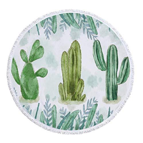 ZCQFFF Cactus Floral Ronde strandhanddoek voor badkamer, microvezel, Summer Swimming Cere, mat handdoeken met kwasten
