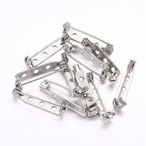 Egurs 100 stuks zilveren broche pin rug bar pin toon pin broche spelden veiligheidsnaalden rug veiligheid pins 6 maten 20 mm, 25 mm, 30 mm 35 mm 38 mm en 40 mm