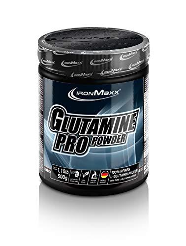 IronMaxx Glutamin Pro Powder - 500 g Pulver - 100 Portionen - Zuckerfrei & Vegan - Reines L-Glutamin in Pulverform - Beliebt für Muskelaufbau & Muskelerhalterhalt - Designed in Germany