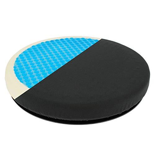 Cojín Redondo Giratorio 360 Grados Viscolastico, con Gel y Memory Foam para Coche, Oficina y Todo Tipo de Asientos