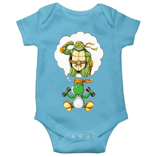 Yoshi - Teenage Mutant Hero Turtles - TMHT Lustiges Blau Kurzärmeliger Baby-Bodysuit (Jungen) - Yoshi, Michelangelo und Teenage Mutant Hero Turtles (Yoshi - Teenage Mutant Hero Turtles - TMHT Parodie