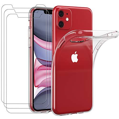 iVoler Custodia Cover per iPhone 11 6.1 Pollici 2019 + 3 Pezzi Pellicola Protettiva in Vetro Temperato, Ultra Sottile Morbido TPU Trasparente Silicone Antiurto Protettiva Case per iPhone 11