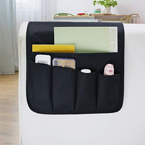 MDSTOP Armlehnen-Organizer, passend für Handy, Bücher, Zeitschriften, TV-Fernbedienung (schwarz + Twill)