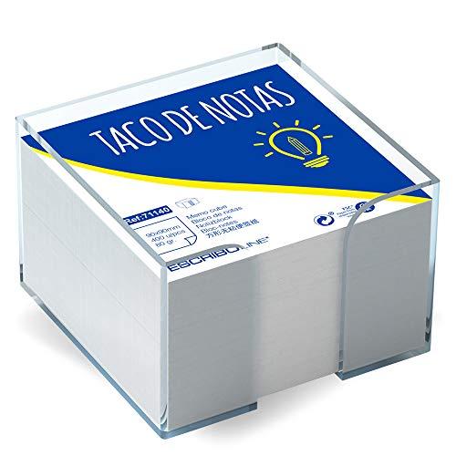 3 Pakcs de Tacos de Notas con Cubo Transparente - Tamaño 9 x 9cm - Color Blanco - 400 Hojas