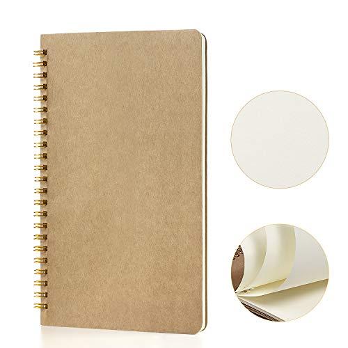 Cuaderno A5 Libretas, Jolintek Bloc de Notas Espiral, Libretas Bonitas Tapa Blanda Cubierta de Kraft 100 páginas/50 hojas, Cuaderno de Dibujo, Diarios para Escolar, Diario de Viaje
