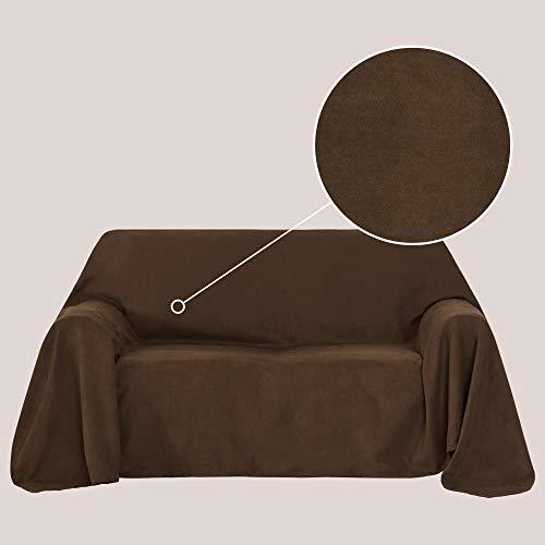 Deconovo Bettüberwurf Sofa Überwurf Sesselbezug Tagesdecke Wildleder Optik 210x280 cm Dunkelbraun
