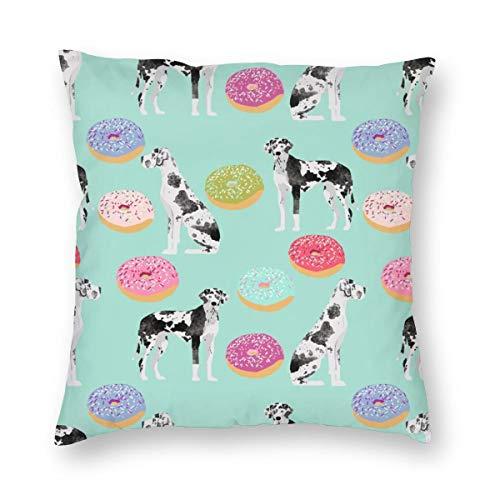 surce Kussenslopen Grote Denen Donuts Leuke Honden Donuts Ontwerpen Beste Hond Ontwerpen Voor Hond Eigenaren voor Slaapbank Slaapkamer WoonkamerTwee Zijden afdrukken 18x18 inch