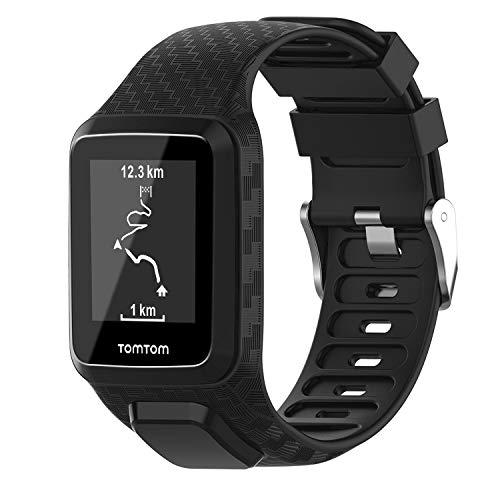 Keweni Cinturino Compatibile per TomTom 3 Watch, Silicone Morbido di Ricambio Cinturino Sportivo Band per Tomtom Adventurer Golfer 2 / Runner 2/3 Spark/Spark 3 Sport (Nero)