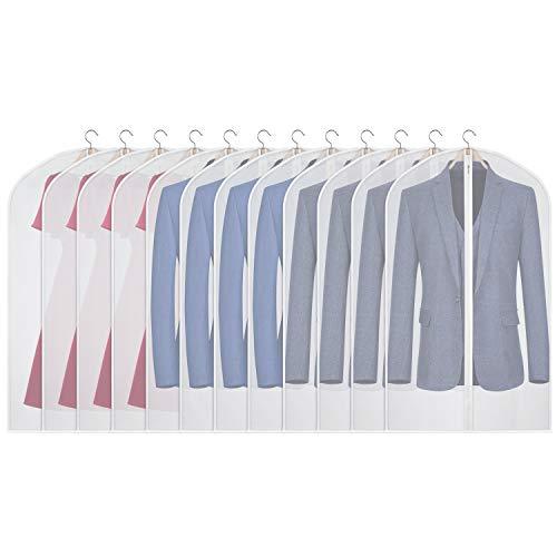 KEEGH 12PCS Kleidersack Anzug Taschen für Wandschrank Lager Staubdicht Schutz für hängende Anzüge Mantel, Abendkleidung (100cm Anzug Kleidersack/12pcs)