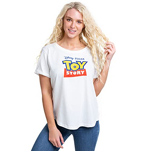 Pixar Toy Story Logo T-Shirt, Blanc (White White), 38 (Taille Fabricant: Small) Femme