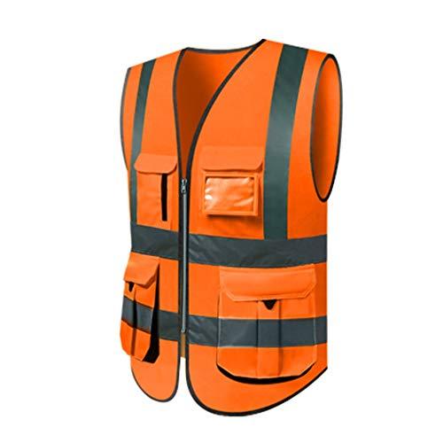 Oranje reflecterend veiligheidsvest, lichte en ademende werkkleding met meerdere zakken, veiligheidsvest, reizen 's nachts veiligheid Liuyu.