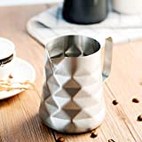 Stainless Steel Prismatic Designed Espresso Steaming Milk Frothing Pitcher, 20oz/600ml Milk Coffee Cappuccino Latte Art Frothing Pitcher Barista Milk Jug Cup Coffer Maker Accessories…