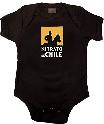 Camisetas EGB Body Bebé Nitrato de Chile ochenteras 80´s Retro (Negro, 6 Meses)