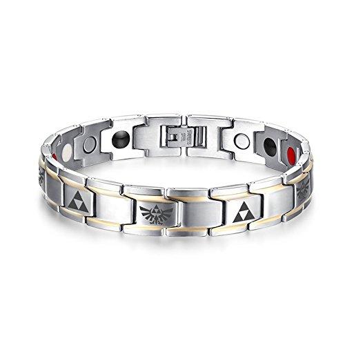 """Vnox - Pulsera terapia magnética, de acero inoxidable dorado, para hombre, La leyenda de Zelda """"Triforce Link Bracelet"""", 21,8cm"""