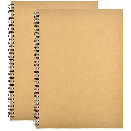 2 STK Skizzenbuch A4, 150GSM / 140 Seiten Notizbuch A4 Spirale Notizblock/Collegeblock, Skizzenheft Zeichnen, Kraft Cover Leerseite Notizheft Skizzenblock, für Reisen Memos, Malen und Graffiti