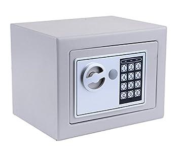 Hopekings Caja Fuerte Pequeña, 230 x 170 x 170 mm Caja Fuerte Electronica,Cajas Fuertes Empotrables con 4 Pilas y 2 Llaves de Emergencia, Plateado