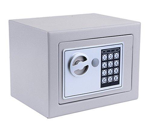 Hopekings Caja Fuerte Pequeña 230X170X170 mm, Caja Fuerte Secreta Con 4 Pilas, Plateado