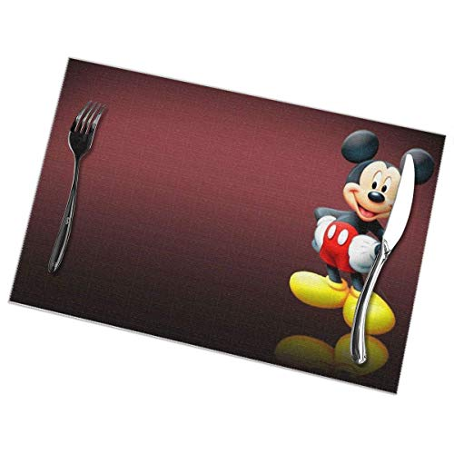 Water-wave Mick-ey Mo-use Tischsets für den Esstisch 6er-Set, wärmeisolierende, schmutzabweisende, rutschfeste, waschbare Tischsets für den Esstisch im Restaurant, 12 x 18 Zoll-E15