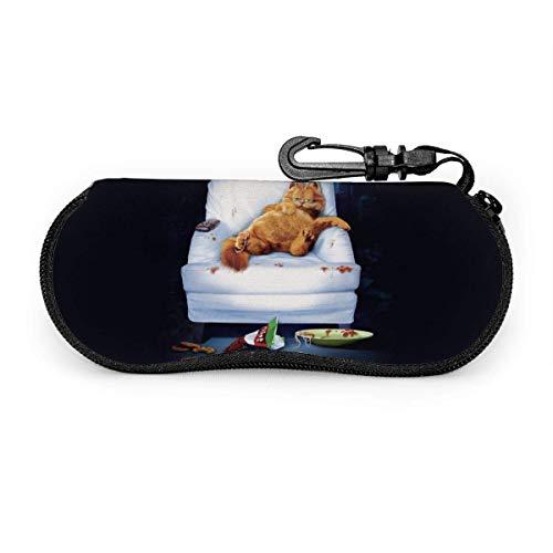 Garfield Funny Schlafsofa Cartoon Thema Brillenetui Sonnenbrille Soft Case Brille Sicherheitstasche Protector Ultra Soft Ligh