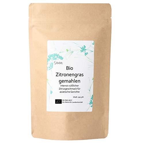 Suna® Bio Zitronengras gemahlen | intensiv süßlicher Zitrusgeschmack für asiatische Gerichte | Nachfüllpack 250 g