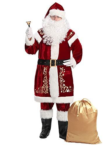 Togake Christmas Santa claus costume for men 12pcs set deluxe velvet adult Santa suit 2XL