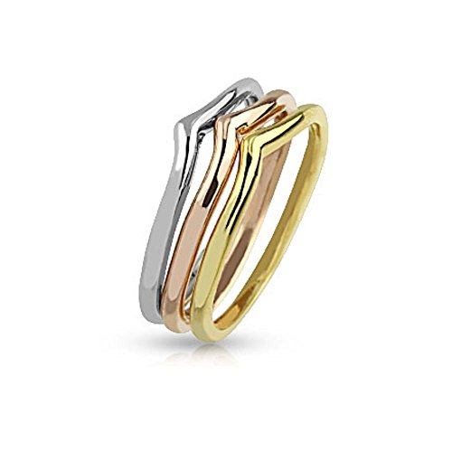 Bungsa® Mittelring dreifarbig für Damen Zehenring (Zehring Fussschmuck Fussring Toe-Ring Nail Ring Mittelring Nagelring biegbar verstellbar)