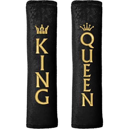 Nashville print factory 1 Paar Gurtpolster Gurtschoner mit Motiv King & Queen Bestickt   Stickerei in Gold mit Krone   Velour   2 Motive (Motiv 2)