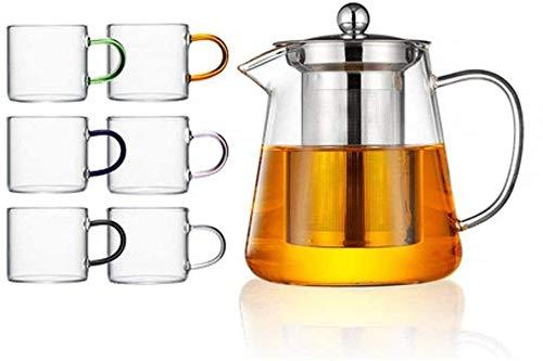 Bouilloire induction Théière moderne Théière transparente Théière en verre épaisse Théière parfumée Pot de café avec infuseur en acier inoxydable pour bureau à la maison en plein air WHLONG