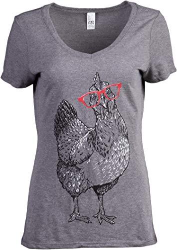 Cute Glasses Chick | Funny Backyard Chicken Hen Chiken 4H Farm Egg Humor V-Neck T-Shirt for Women - (Vneck,3XL)