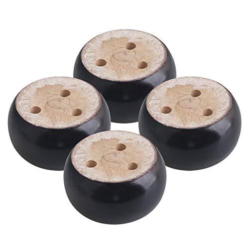 Patas de madera para sofá de 4 unidades, color negro, 9,5 x 5 cm