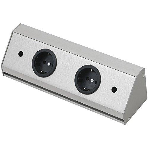 WIPO 13940262200 Steckdosenleiste Corner Compact 230 V, max.3500 Watt, L 260 mm, Edelstahl Effekt