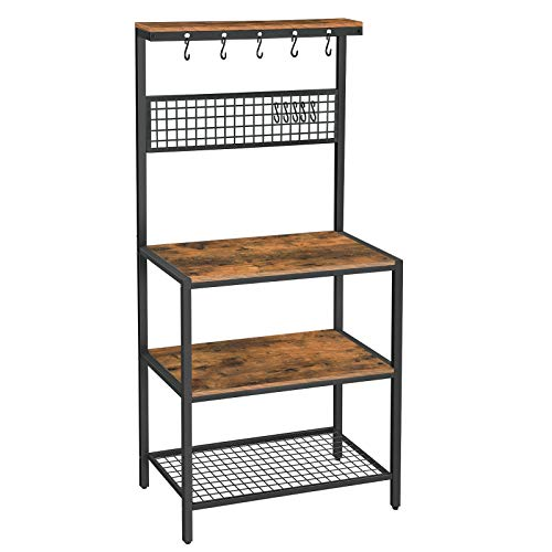 VASAGLE ALINRU Kitchen Bakers Rack Cupboard with 10 Hooks, Mesh Panel, 3 Shelves, and Adjustable...