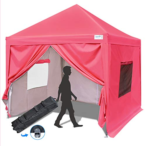 Quictent Privacy 10x10 Ez Pop up Canopy Tent Enclosed Instant Canopy Shelter with Sidewalls and Mesh Windows Waterproof (Pink)
