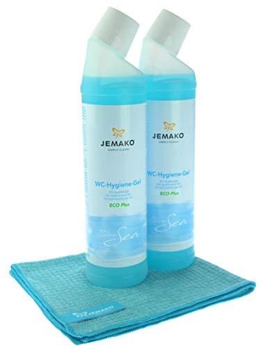Jemako Set - WC-Hygiene-Gel Blue Sea ECO Plus 1500 ml (2 Flaschen á 750 ml) - Profituch klein (35 x 40 cm) - inkl. Feinmaschiges-Wäschenetz mit Reißverschluss