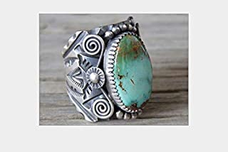 TheoneJewelry Huge 925 Silver Delbert Gordon Mountain Turquoise Bridal Ring Women Jewelry 6-10 (10)
