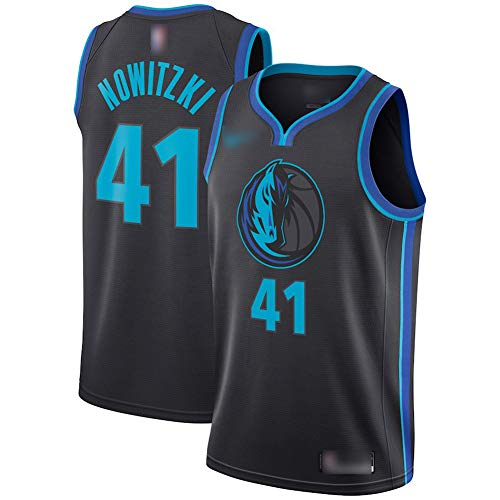 ATI-HSKJ Basketball-Trikots Dallas Mavericks 41# Dirk Nowitzki Fans Männer Basketball Westen Tops Retro Sweatshirt Swingman Jersey Schwarz BH273,XL:180cm~185cm