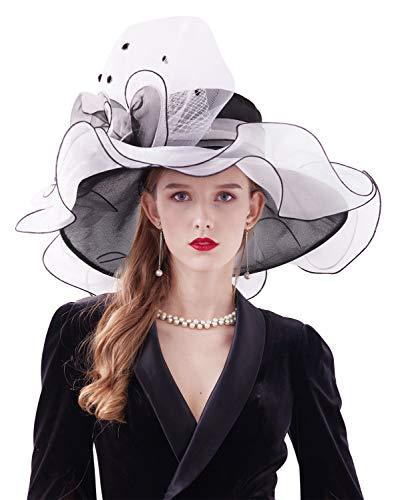 Z&X - Cappello da donna Kentucky Derby in organza, a tesa larga, fasciante, per matrimoni, tè e feste con clip, doppio uso - nero - Taglia unica
