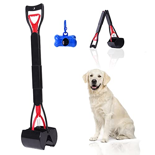 Pooper Scooper for Large Medium Small Dogs with Bag, 31.5' Long Foldable Handle, Protable Dog Poop...