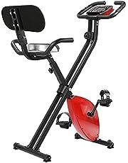 MVPower Opvouwbare hometrainer voor thuis, 136 kg belastbaar, opvouwbare fietstrainer met rugleuning, fitnessfiets met 8 weerstandsniveaus, instelbare kussenhoogte